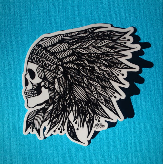 Feather Skull Sticker (WATERPROOF)