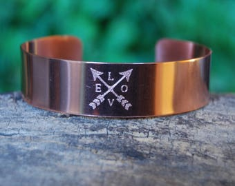 Crossed Arrows Love Cuff, Valentine Bracelet, Copper Cuff, Cherokee Copper, Love Bracelet, Arrow Bracelet, Cherokee Jewelry