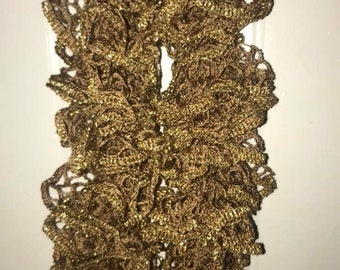 Brown Tan and Metallic Gold Handmade Knitted Ruffle Scarf