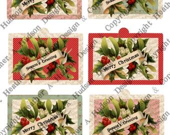 Pink Victorian Vintage Holly Christmas Season's Greetings Gift tags Ornament 3 Digital Collage sheets Printable