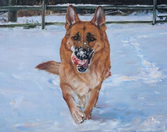 """RedBall Ruby, CUSTOM Pet Portrait Oil Painting, dog painting Shepherd, by puci, 18x24"""""""