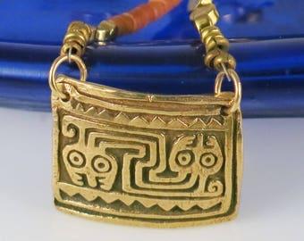 Inca Peruvian Kiln-Fired Bronze Necklace - African Bronze Beads - Handmade Coral Glass Beads - Inca Peruvian Serpent Design Necklace Gift
