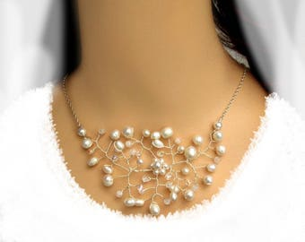 Necklace Bridal Jewelry Wedding freshwater cultured pearls, Bridal necklace cultured pearls wedding jewelry chain