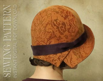 SEWING PATTERN - Annick, 1920s Twenties Cloche Fabric Hat for Child or Adult Downton Abbey Cancer Vintage