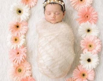 Newborn Flower Crown Haircrown Baby Satin Roses Baby Photo Prop Headband Gold Elastic