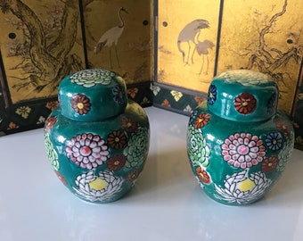 Miniature Floral Ginger Jars Matching Pair, Hand Painted Ceramic Vase Mini, Japan