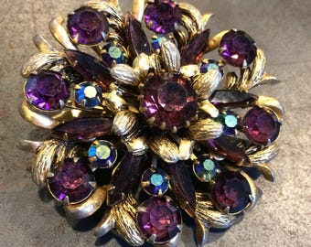 Large Purple and Aurora Borealis Floral Crystal Brooch in Gold by Selini