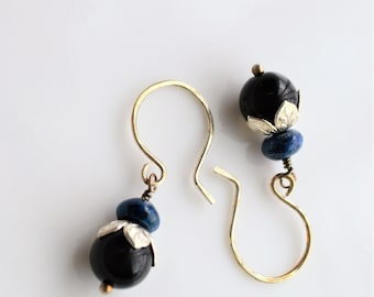 Black Onyx and Lapis with Sterling Silver Earrings