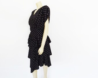 Polka Dot Dress, UK14, Spanish Dress, Vintage Clothing, Bohemian Dress, Prom Dress, Spotty Dress, Vintage Clothing, Flamenco Dress