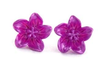 Purple Lily Earrings - Retro Resin flower earrings - Rockabilly, Pinup, Vintage Style - Large flower stud earrings