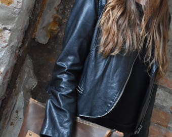 No. 13 Taupe Leather Hand-Clutch