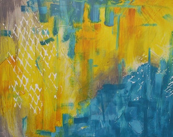 Original Abstract Yellow and Teal Painting 30 x 24 - Untitled 018 - Modern Wall Art and Contemporary Abstract Acrylic Painting on Canvas