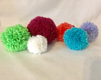Pom Poms 6 Piece Lot - Purse Charm - Bag Accessories - Handmade Pom Poms - Garland Supplies - Banner Supplies - Knitwear
