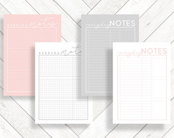 Retro PRINTABLE A5 Planner Pages Inserts, Pink Grey A5 Ring Planner Supplies, Grid Line Note Paper, Digital Download Ledger Style To Do List