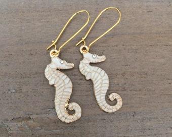 Seahorse Earrings, cream enamel seahorses, resort wear, nautical jewelry