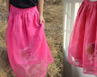 465---Hot Pink Silk Organza Skirt, with Hand Ebroidery Patch, Made to Order.