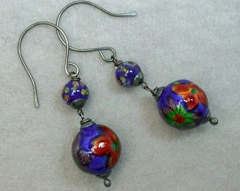 Vintage Chinese RARE Cloisonne Enamel 1970 Bead Earrings Red Aqua Blue Beads,Japanese Blue Millefiori Glass Beads, Handmade Silver Ear Wires