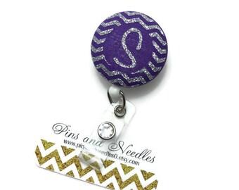 Monogram ID Badge Reel - Retractable Badge Reel - Cute Id Badge Reels - Fabric Badge Holder - Fabric ID Badge Reel - Initial ID Badge Reel