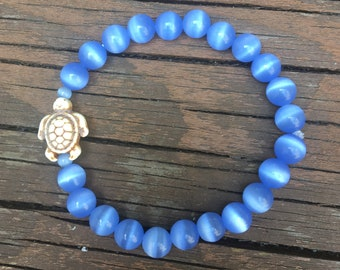 Blue Cat's Eye and Turtle Charm Stretch Bracelet