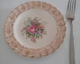 Mid Century Limoges, Mid Century Limoges Plate, Vintage Limoges, Vintage Limoges Dessert Plate, Rosalie Limoges Plate, Limoges USA