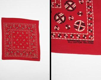 Vintage 60s Fast Color Bandana Turkey Red Roman Shield Cotton Handkerchief