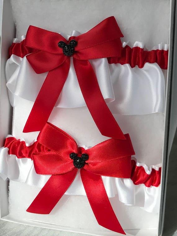 MOUSE EARS Wedding Garter Bridal Garter Keepsake and Tossing Garter Set Red on White with Black Mouse