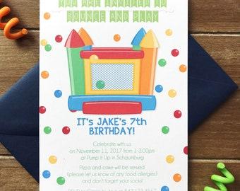 Bouncy house invitations, kids birthday party invitation, bounce house party, custom invitations, jump house invitation, ball pit invitation