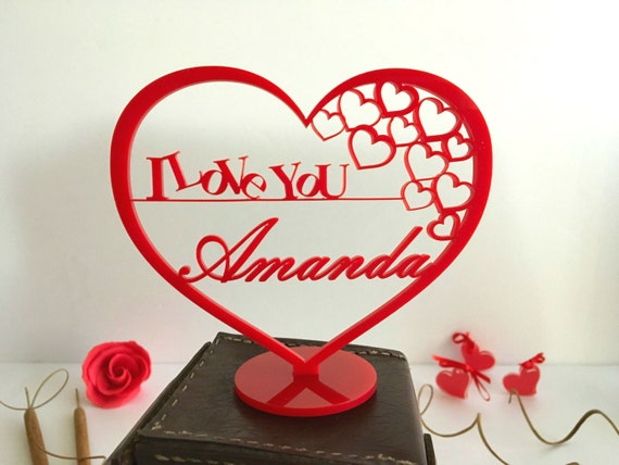 Personalised heart shape Name ornament Custom Mothers day Gift for her I Love you Mom Laser cut sign Personalized freestanding red heart tag