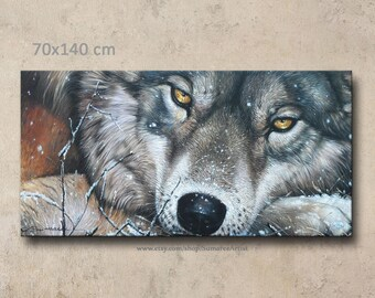 70 x 140 cm, wolf painting oil painting on canvas wall decor