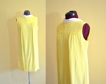 1960s Vintage Glenbrooke Yellow Shift Dress size 14 (M L) bust 38