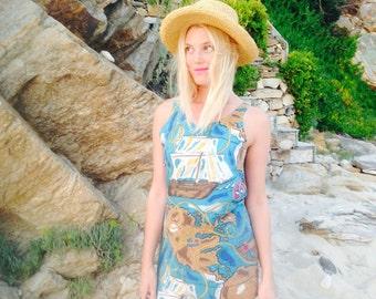 Sailor Dress/70's Vintage Festival Dress/Nautical Dress/Boat Dress/Pin Up Dress/Boho Mini Dress/Sun Dress/Boho 70's Blouse/Hippie Dress/S