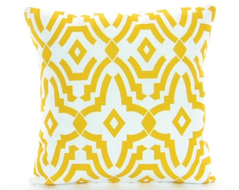 OUTDOOR Yellow Throw Pillow COVERS Cushions One or More ALL Sizes Citrus Yellow White Geometric Couch Sofa Pillow Cushion Patio Cottage
