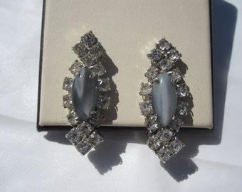 Grey Rhinestone Clip Earrings