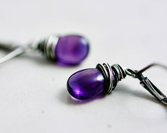 Amethyst Drop Earrings, Amethyst Jewelry, February Birthstone, Dangle Earrings,