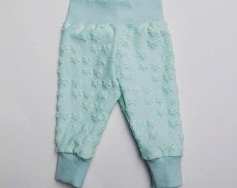 Mint green baby leggings star print  stretch waistband. Baby bottoms,baby legging, babygirl clothes. Unique Babywear handmade
