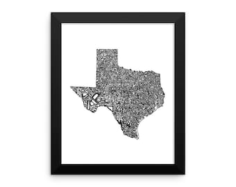 Texas typography map art FRAMED print customizable personalized custom state poster wall decor engagement wedding housewarming gift