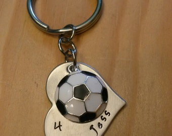 Hand Stamped Personalized Soccer Keychain - Girls Soccer Gift - Soccer Gifts -