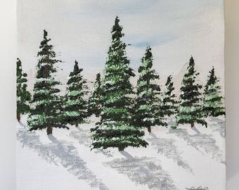Powdered Pines- Original oil painting, landscape, small painting, wall decor