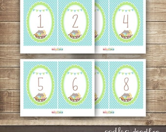 Noah's Ark Baby Shower or Baptism, Christening, Dedication Table Numbers / Printable Table Numbers  - INSTANT DOWNLOAD - Printable