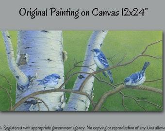 Bird art, Country wall decor, Shabby Chic decor, blue green wall decor, Laundry room decor, Bathroom wall art, Birch tree bluejay painting