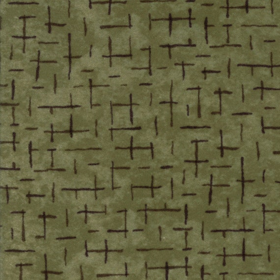 Sage Green Flannel With Dark Criss Crossed Hash Lines From Holly Taylor Fall Impressions Moda Fabric By The Yard 6704 18F