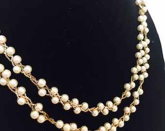 Vintage Napier Signed Gold Toned Faux Pearl Beaded Necklace