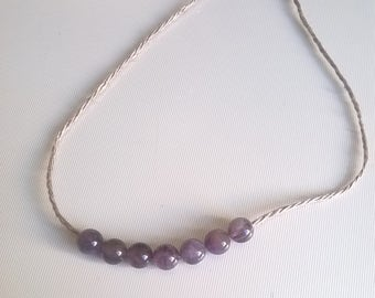 Amethyst Bead Necklace on Linen Thread
