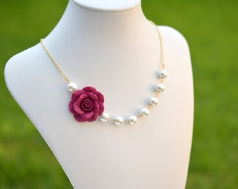 FREE Pearls Earrings, Magenta Rose and White Pearls necklace , Magenta Flower and Grey Flower necklace, Deep Fuchsia Flower Necklace.