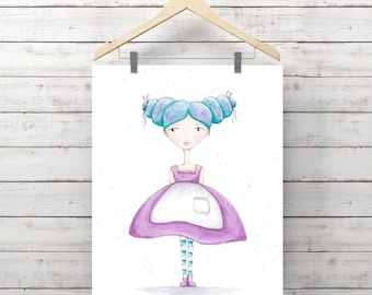 Blue Beauty Girl Watercolor Print - Print of Watercolor Whimsy Girl Painting - Original Art by Angela Weber - Giclee Art Print