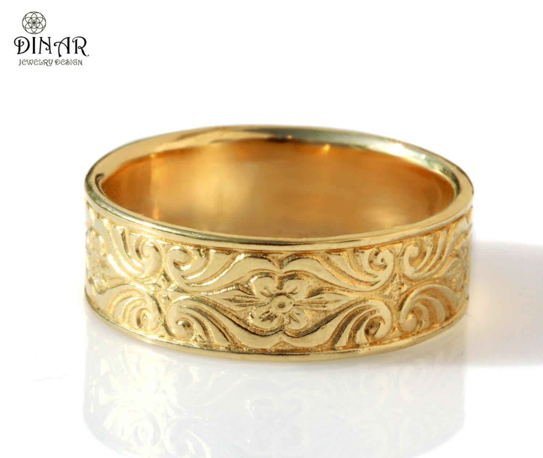 14k gold engraved men wedding band Vintage Design 7mm wide