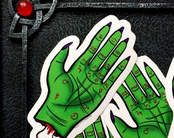 Zombie Palm Reading Hand Vinyl Sticker