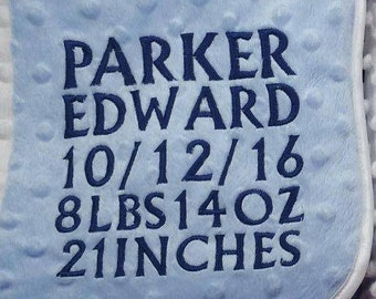 Birth Announcement Quilt - Includes: Name, Birthday, Height, Weight, Length - Embroidered