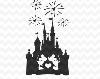 Disney Castle svg, Disney Castle Fireworks svg, Disney Castle with Mickey and Minnie mouse, Disney files for Cricut and Silhouette