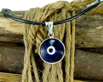 Coin necklace greek coin pendant necklace zeus pendant men evil eye necklace with large 16mm sterling silver pendant greek mati hamsa nazar mozeypictures Images